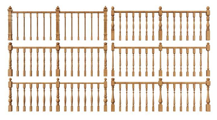 美式木艺栏杆 楼梯护栏扶手 实木护栏