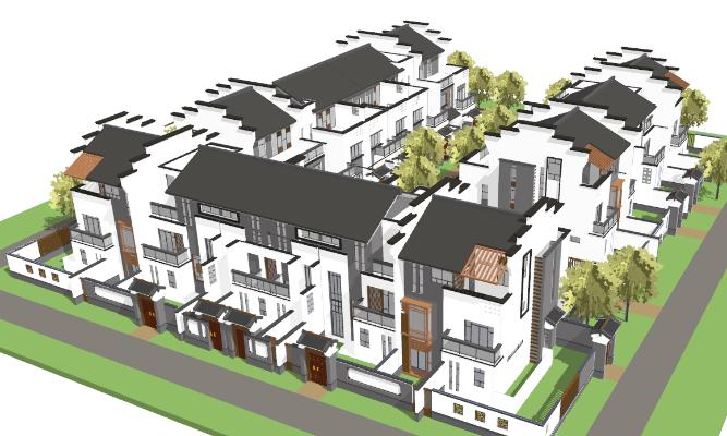 新中式别墅 住宅建筑 庭院景观