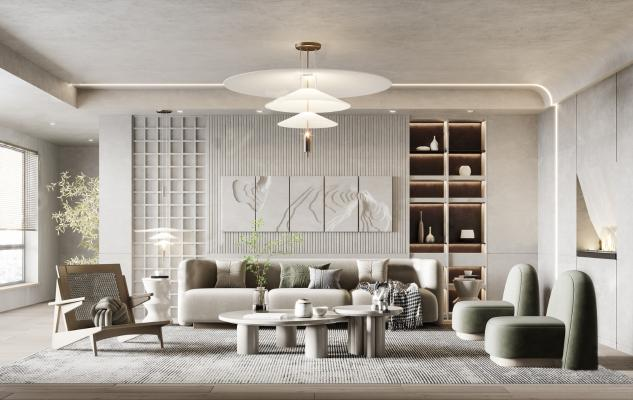 侘寂家居客厅 沙发茶几组合 布艺沙发 单椅 茶几角几 吊灯 墙饰 壁炉