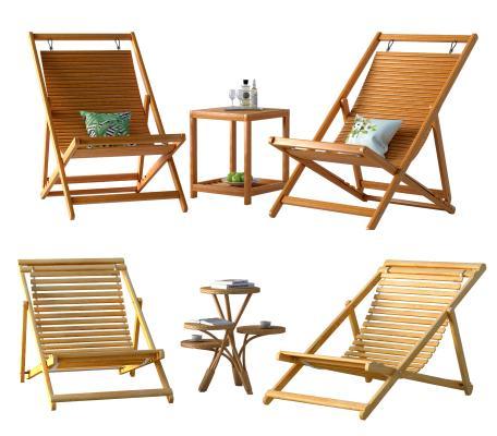 现代休闲椅子 户外躺椅 木质椅子