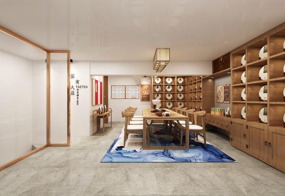 新中式茶室 吊灯 挂画