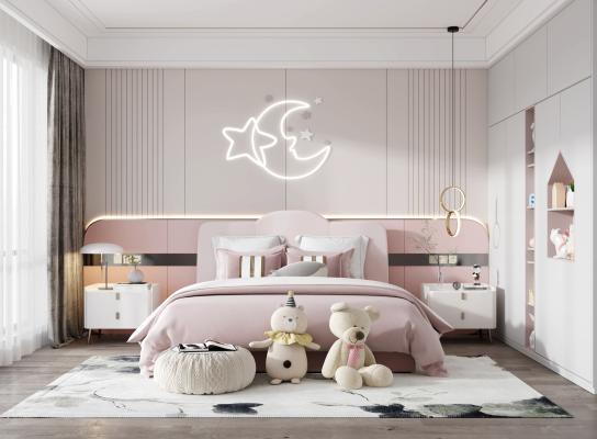 现代儿童房 双人床 吊灯