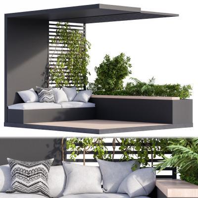 现代阳台 藤蔓植物 花槽
