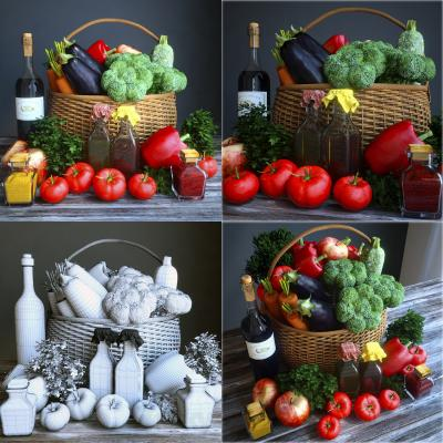 现代蔬菜 篮子 调料