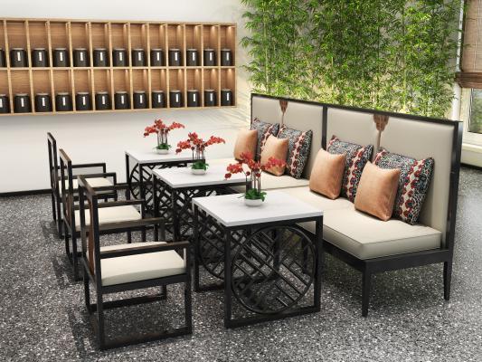 新中式风格卡座 餐桌 餐椅