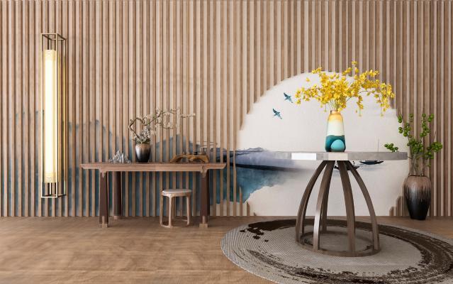 新中式景条案 桌椅组合