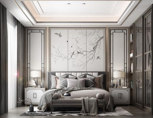 新中式卧室 床 壁画