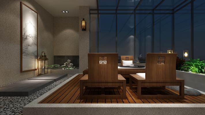 新中式花园阳台