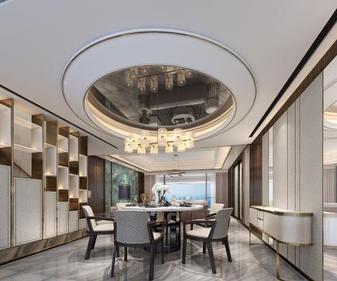 新中式客餐厅 装饰柜