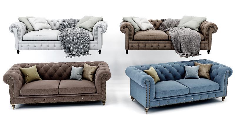 美式欧式皮革沙发组合