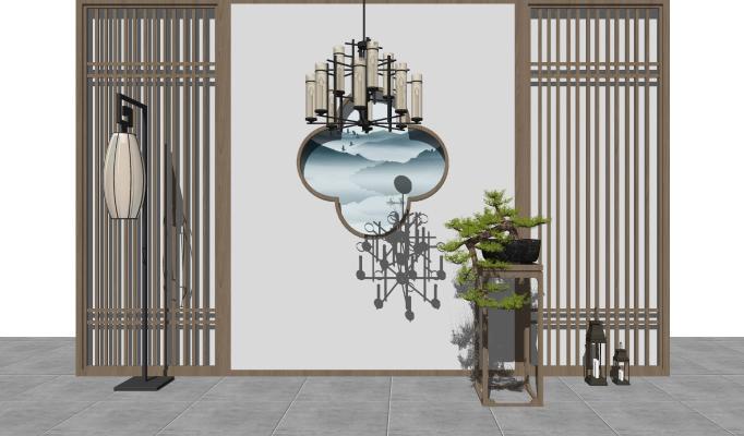 新中式背景墙 形象墙 装饰墙