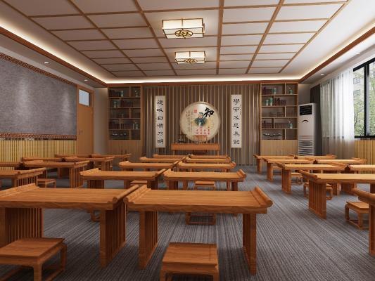 新中式教室 吸顶灯 书柜