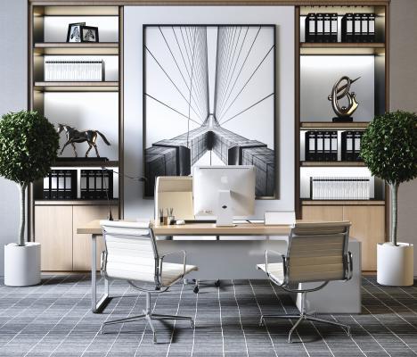 现代简约办公室 办公电脑桌椅组合