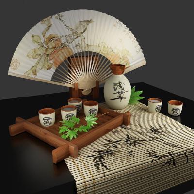 中式扇子 酒壶 酒杯装饰