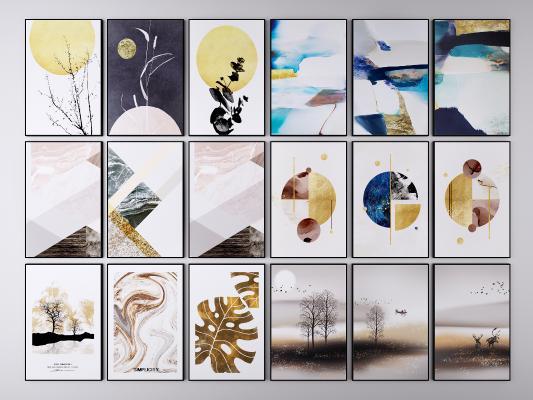 现代抽象挂画装饰画组合 风景画 三联画