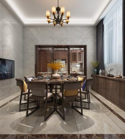 新中式餐厅 餐桌 柜子 吊灯 备餐台 推拉门 餐具 电视 摆件 窗帘 花瓶