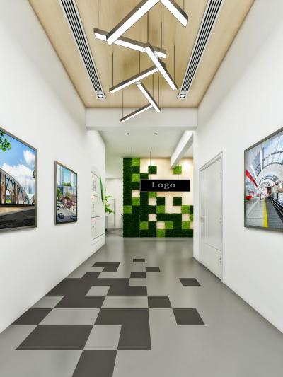 现代简约科技感走廊过道 绿植墙 形象墙 logo墙