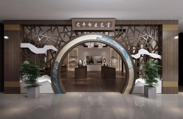 中式文化馆 门头 展厅