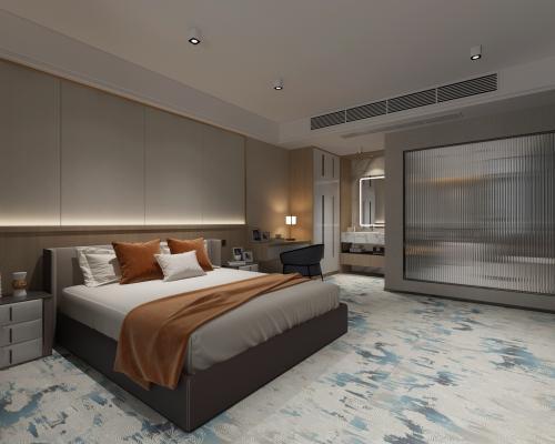 现代酒店客房 双人床 床头柜