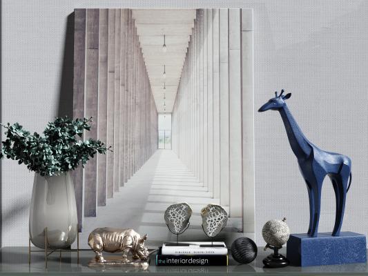 现代艺术动物植物 摆件组合