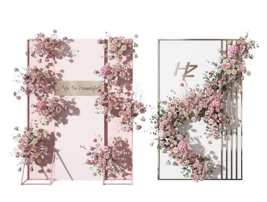 现代植物花卉 花艺 展架 合影区