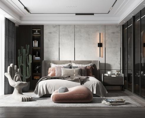 现代风格卧室 父母房