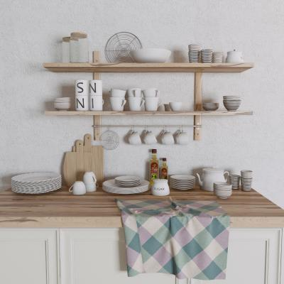 现代厨房餐具 杯子 碗碟
