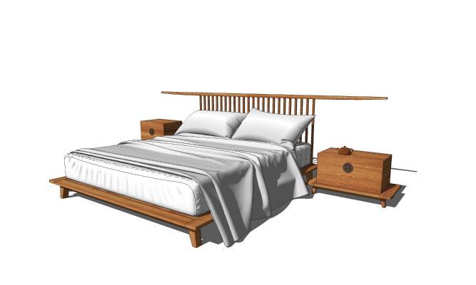新中式床 床头柜组合