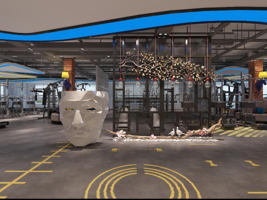 工业风健身房 吧台 面具