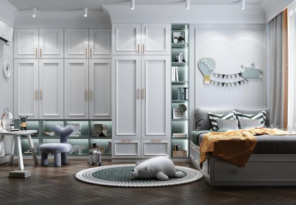 北歐风格儿童房 衣柜 装饰柜