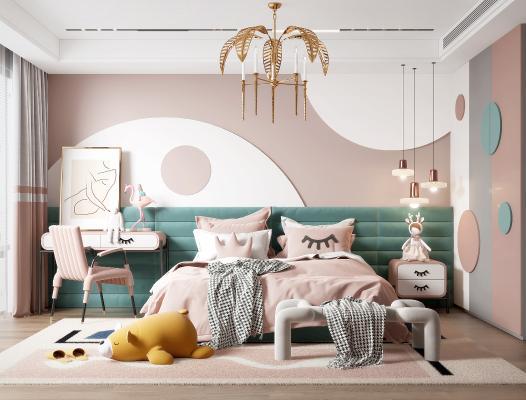 现代儿童房 女儿房 儿童床