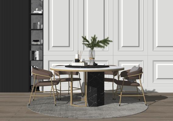 现代轻奢圆桌 餐桌椅组合