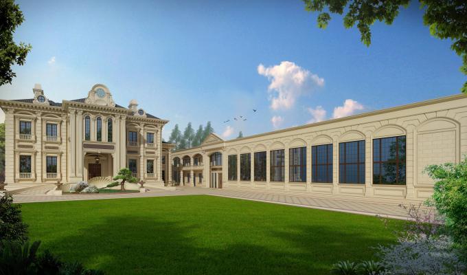 欧式别墅外观 门头 雕花 柱子
