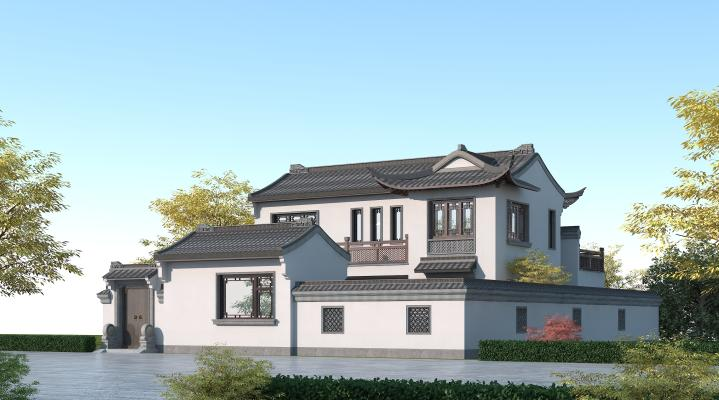 中式别墅 徽派建筑两层住宅楼 苏州园林风格别墅 青瓦白墙