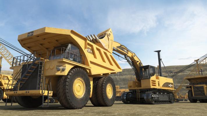 现代工程车 运输车 挖掘机
