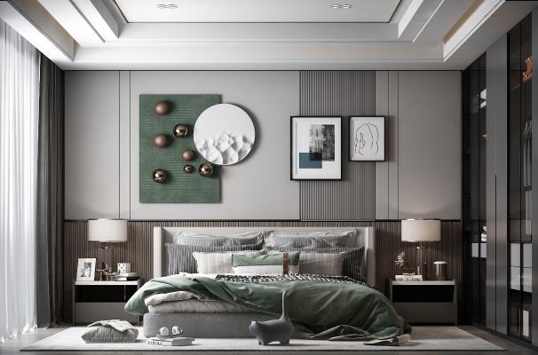 现代卧室 装饰画 床头柜