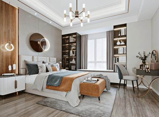 现代轻奢卧室 双人床 吊灯