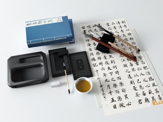 中式风格陈设饰品 砚台 毛笔