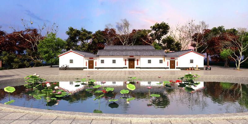 中式住宅区 荷花池塘 农村房屋