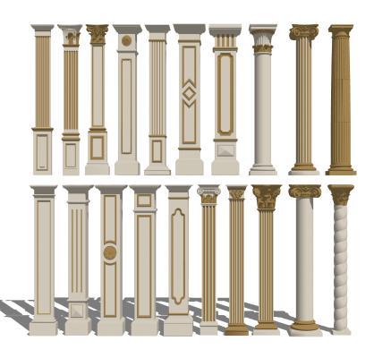 欧式金色罗马柱组合