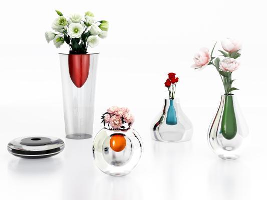 现代时尚彩色玻璃花瓶
