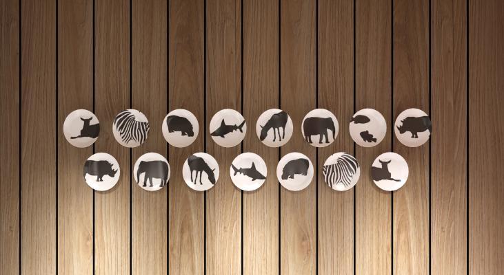 工业风墙面盘子 装饰动物