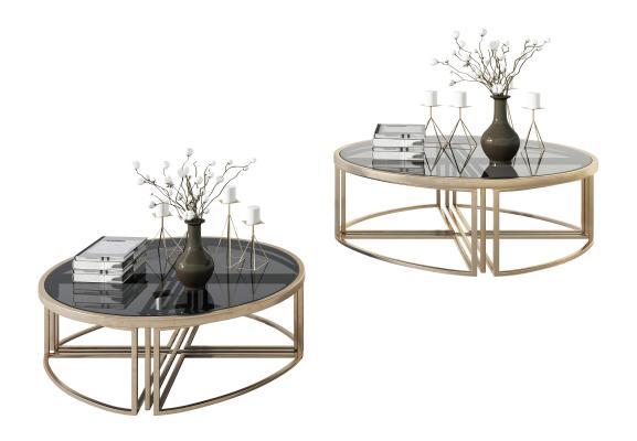 現代圓形金屬玻璃茶幾,邊幾,角幾,花瓶,置物架,裝飾品