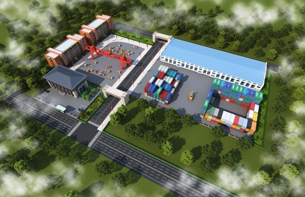 现代工厂鸟瞰 宿舍楼 货场