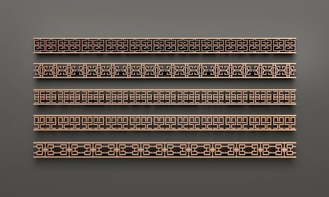中式金属花格线条组合