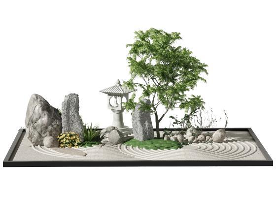 新中式景观小品 景观树 植物
