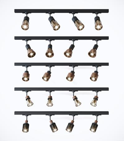 工业风轨道灯 射灯筒灯组合