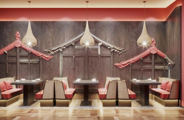 新中式卡座 沙发 餐桌