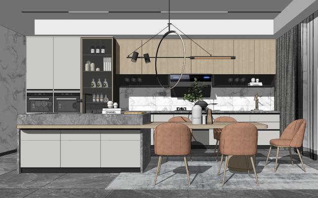 现代简约开放式厨房 餐桌椅组合
