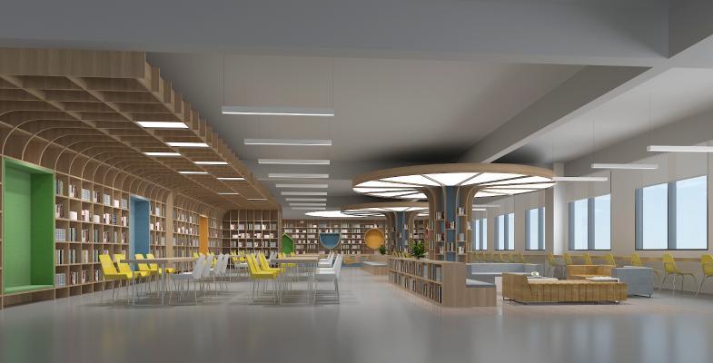 现代图书馆 阅览室 吊灯 书柜
